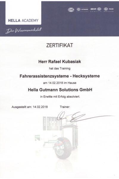 Kubasiak Urkunde Hella Gutmann 2018